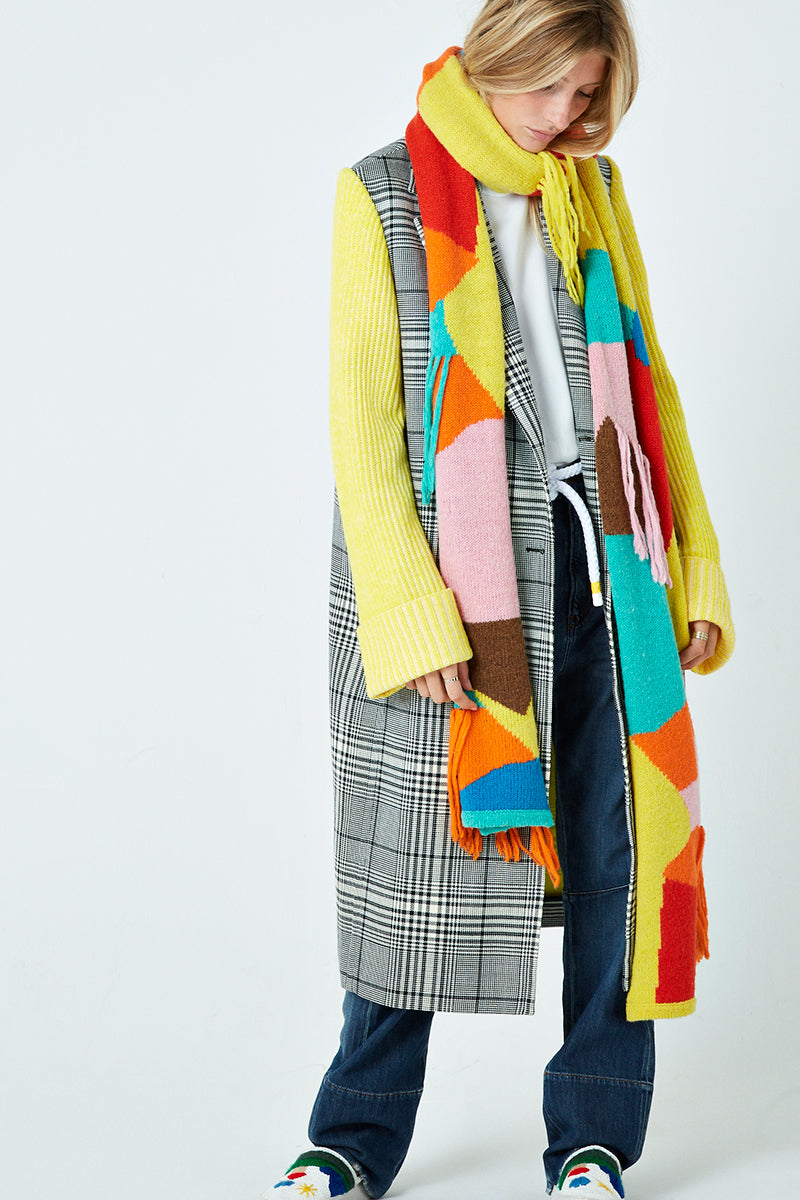 Patchwork Fringed Scarf