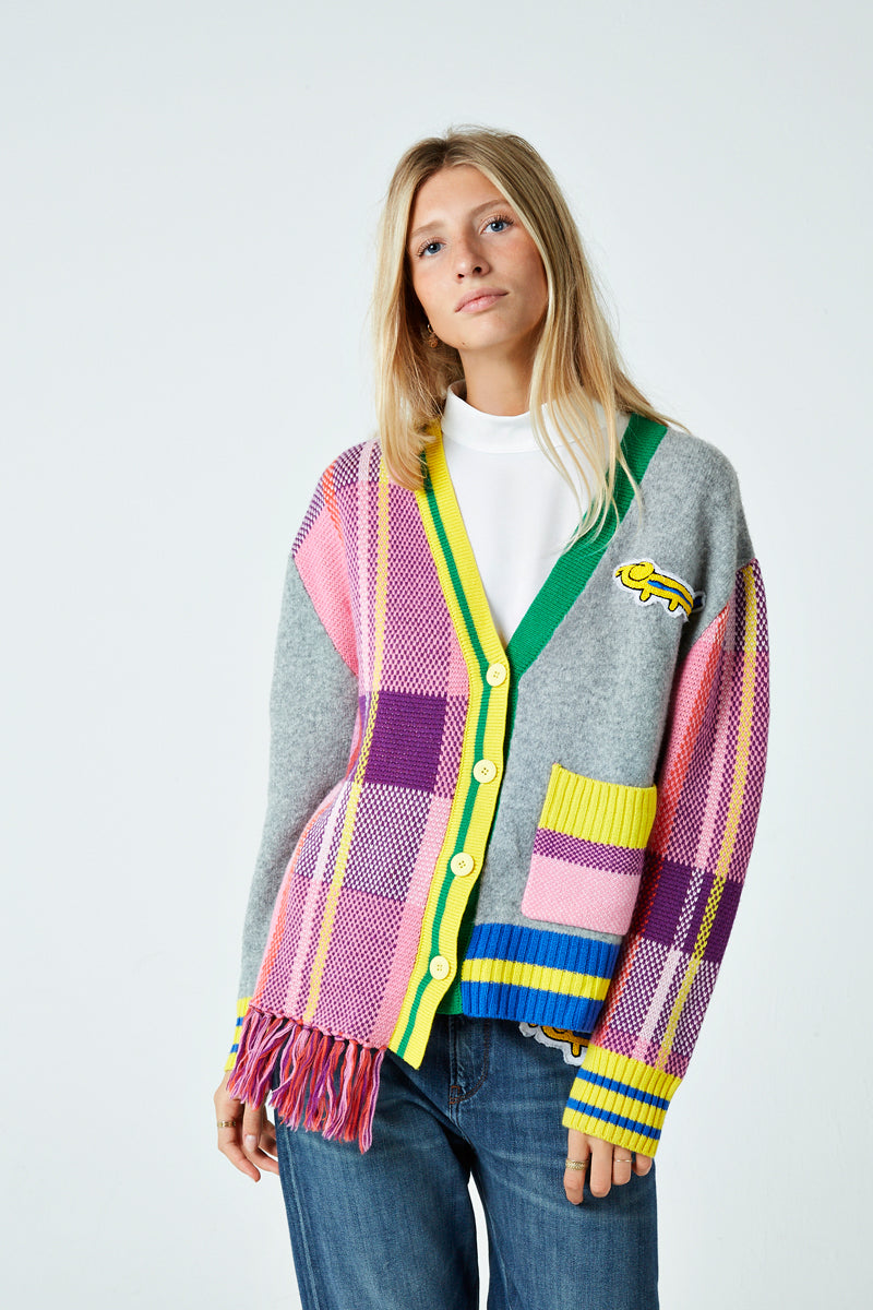 Check Scarf Cardigan with Fringing