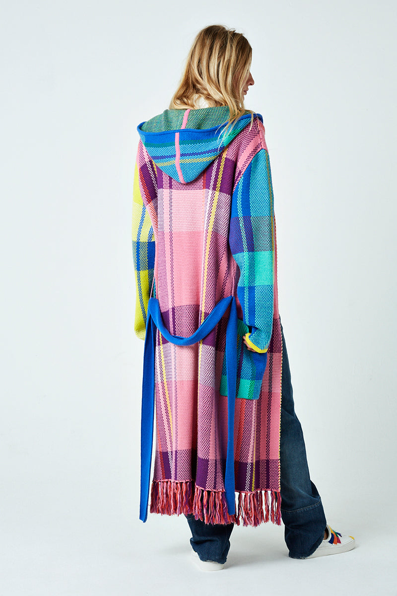 Check Hooded Long Cardigan