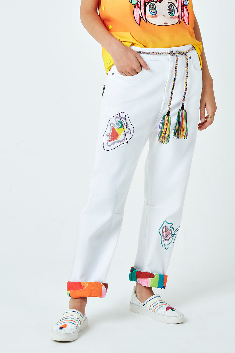 Darn Embroidered Tassel Belt Jeans