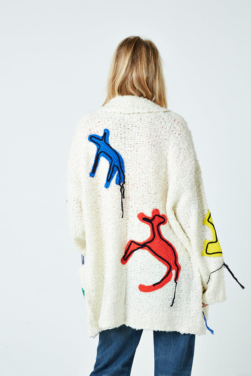 Crochet Animal Patch Boucle Cardigan