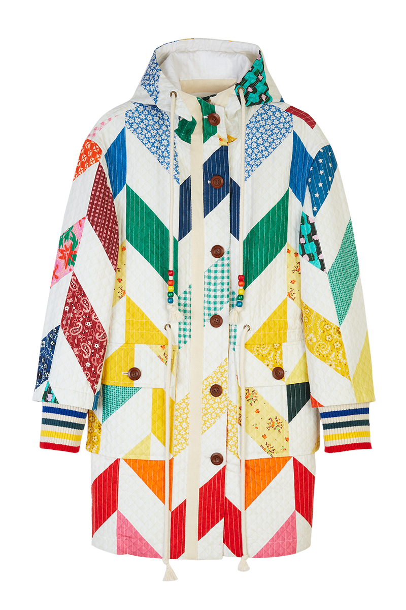 Rainbow Chevron Quilted Parka