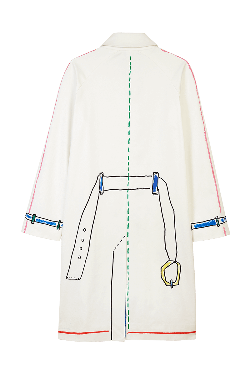 Trompe L'œil Scribble Trench Coat