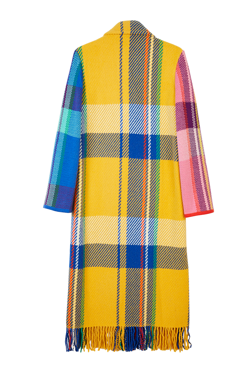Colour Block Check Coat