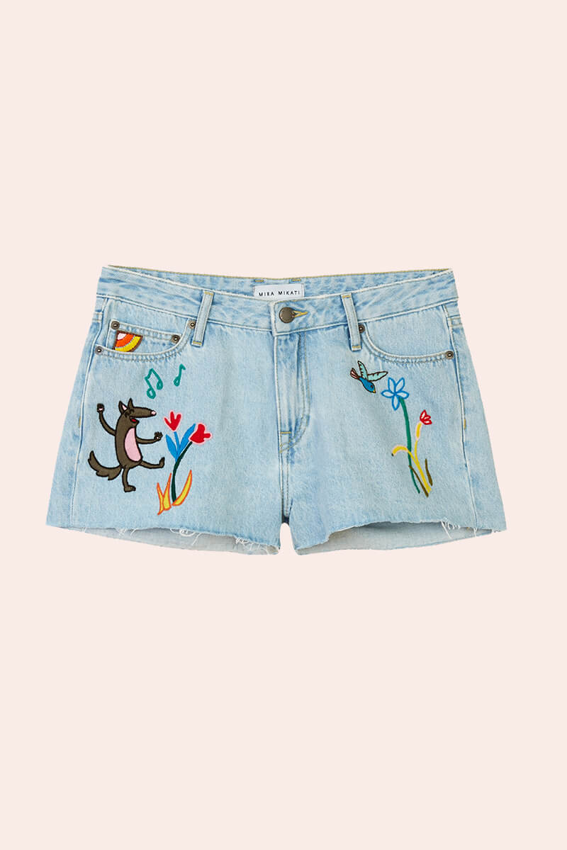 Fairy Tale Embroidered Denim Shorts