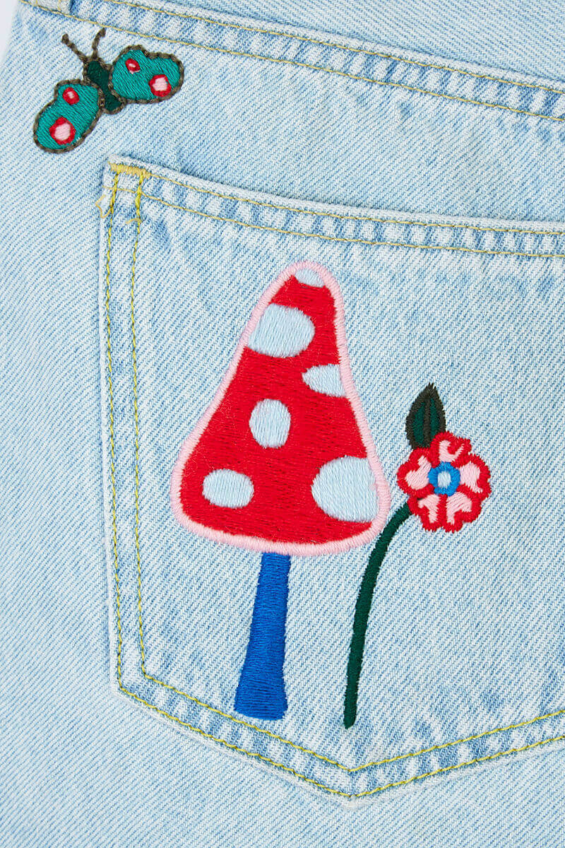 Fairy Tale Embroidered Denim Shorts detail