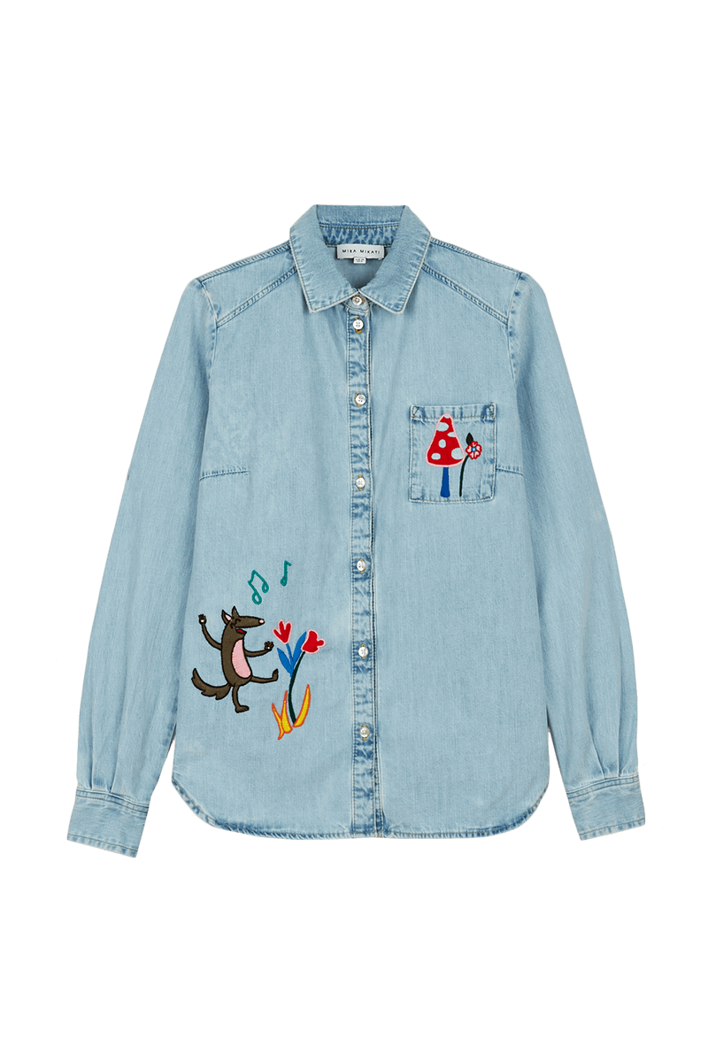 Fairy Tale Embroidered Denim Shirt