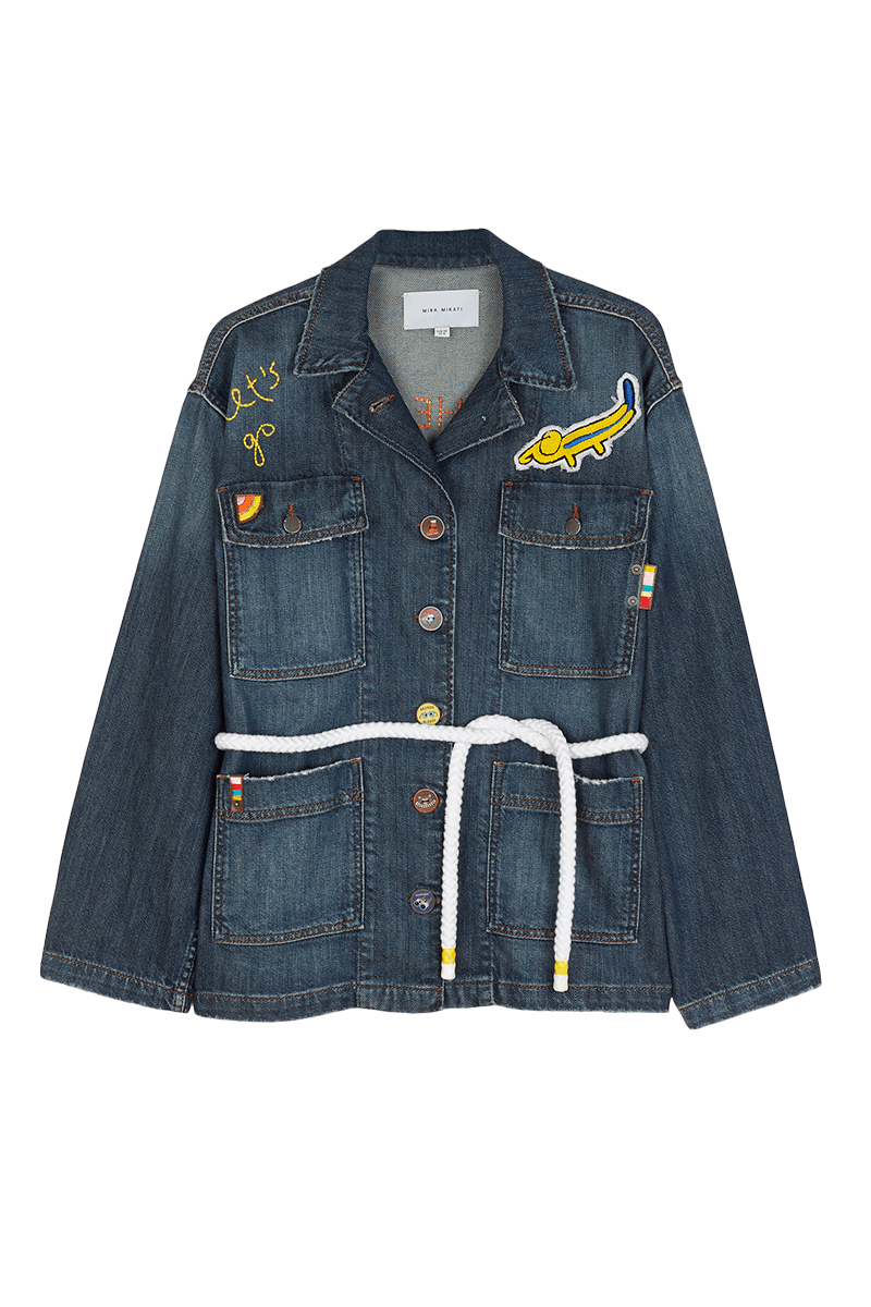 'Let's Go' Embroiderey Denim Jacket