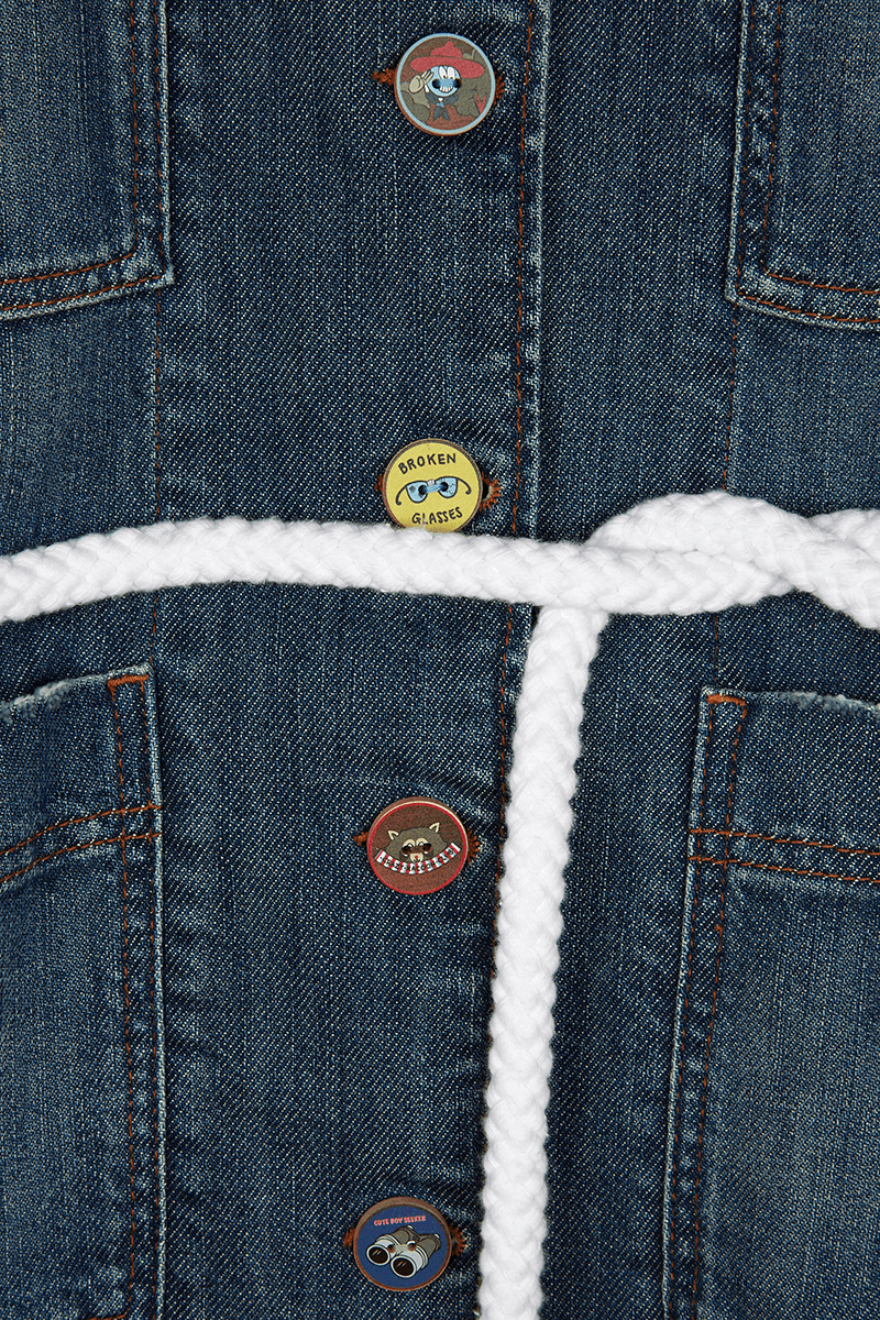 'Let's Go' Embroiderey Denim Jacket detail