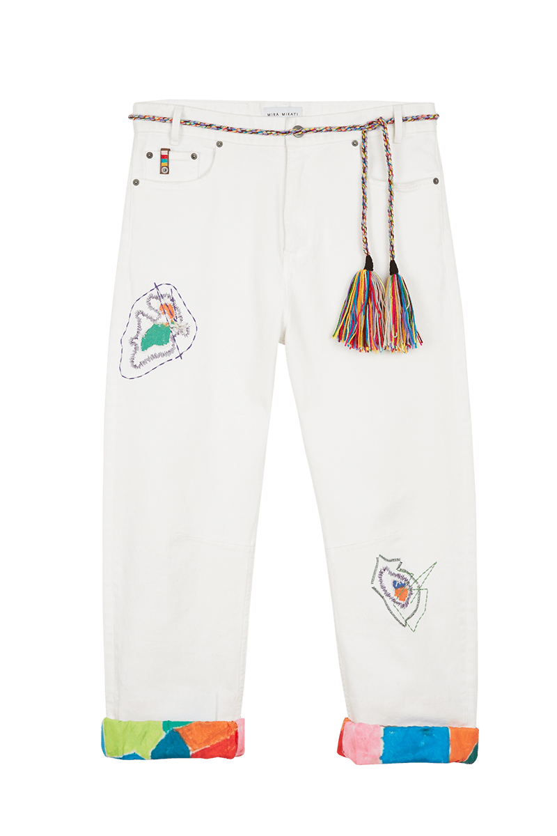 Darning Embroiderey Denim Jean With Tassel Belt