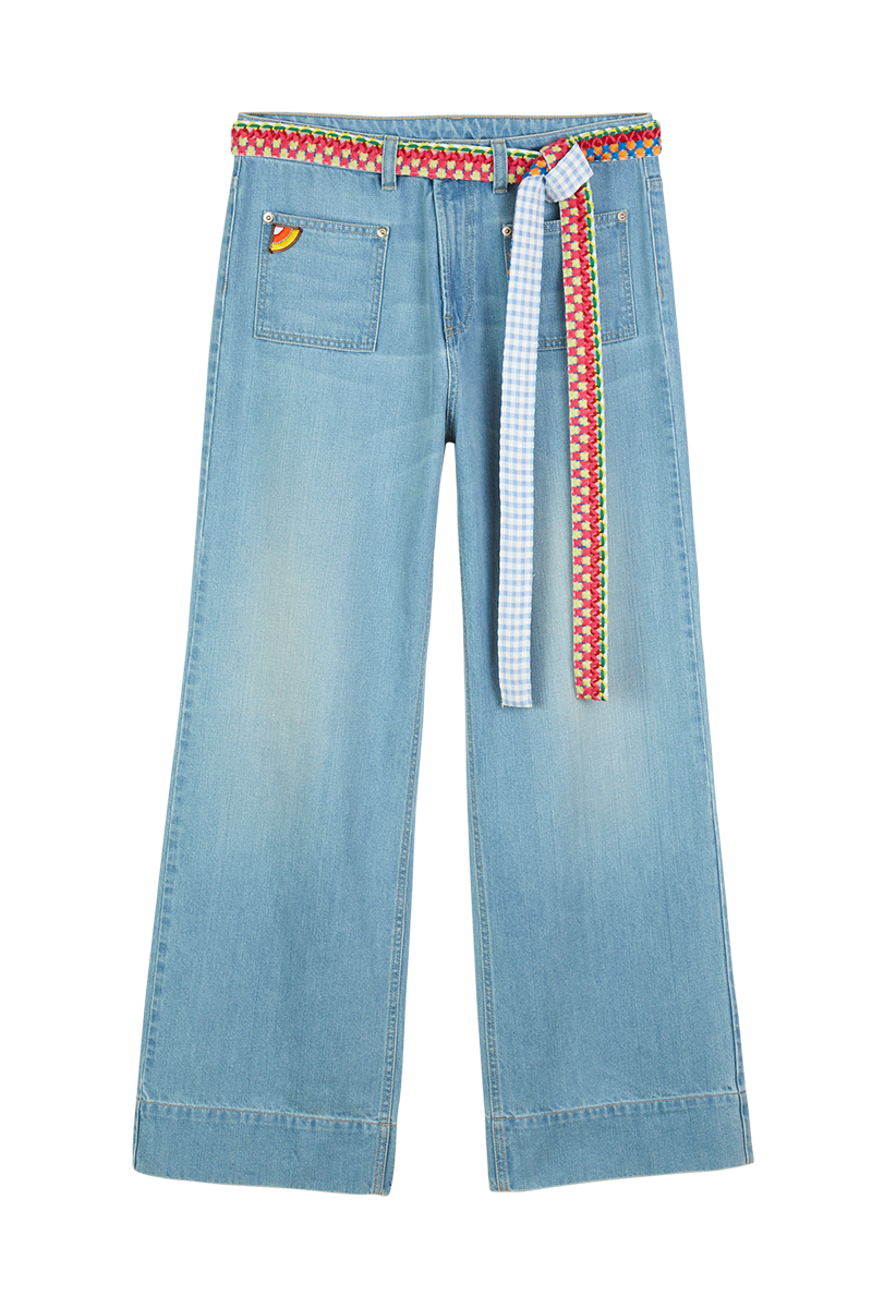 Wide Leg Jeans with Yarn Embroidered Belt
