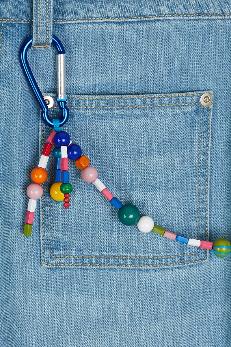 Wide Leg Jean with Beaded Keyring