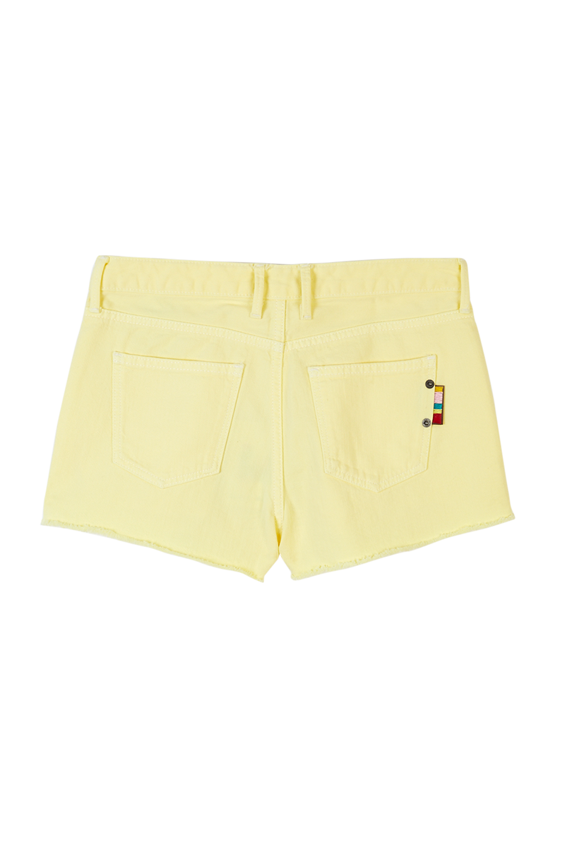Yellow Denim Shorts With Keyring