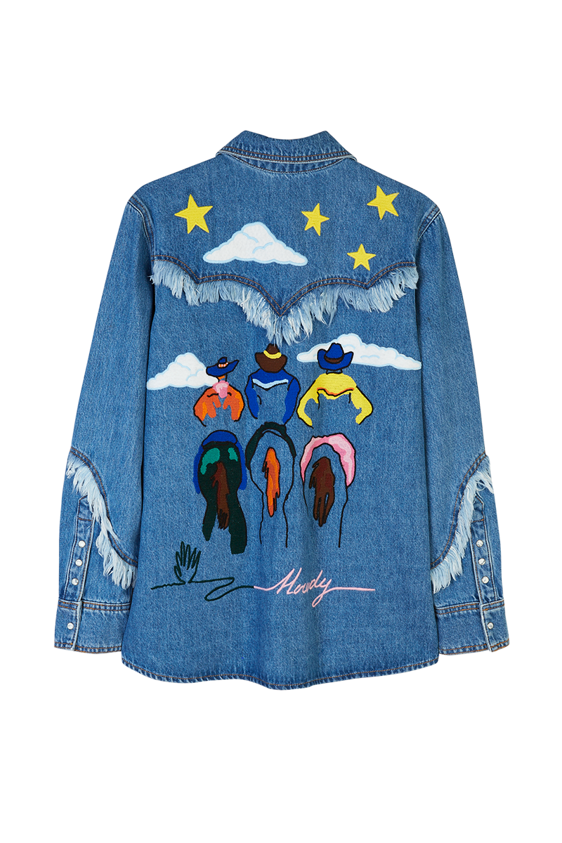 Embroidered Western Denim Fringe Overshirt