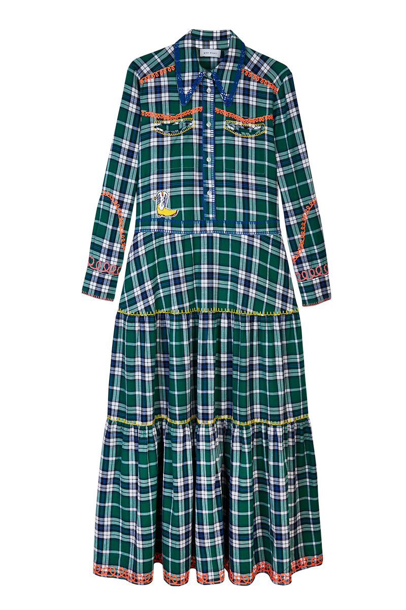 Plaid Western Embroidered Shirt Dress