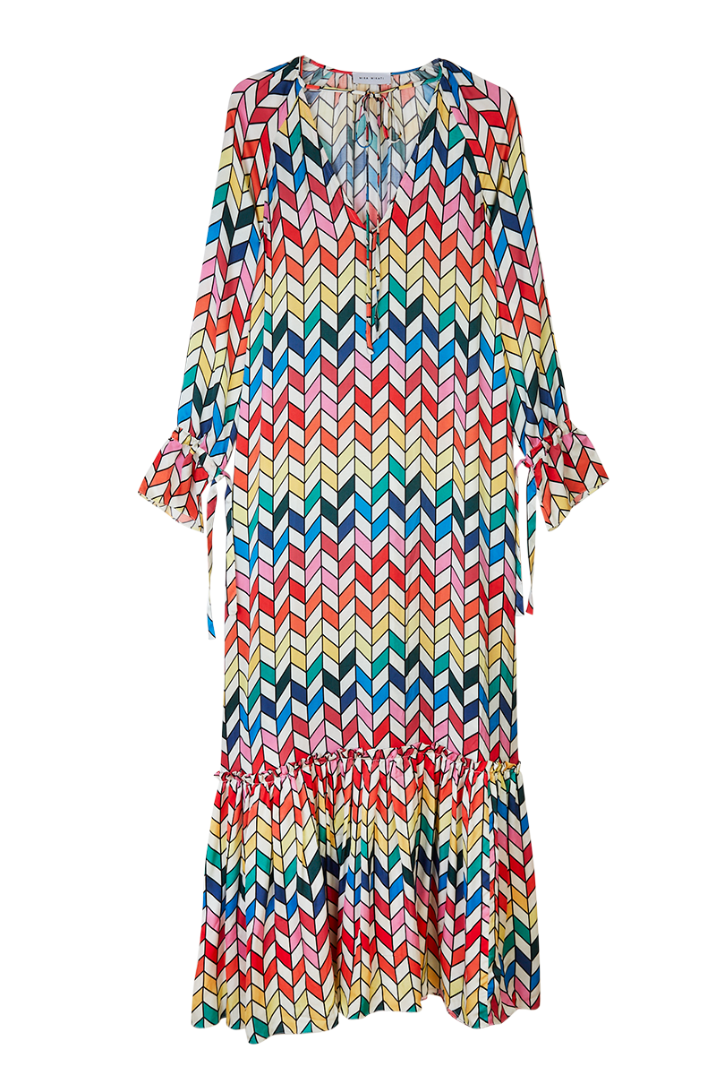 Rainbow Chevron Print V-Neck Dress