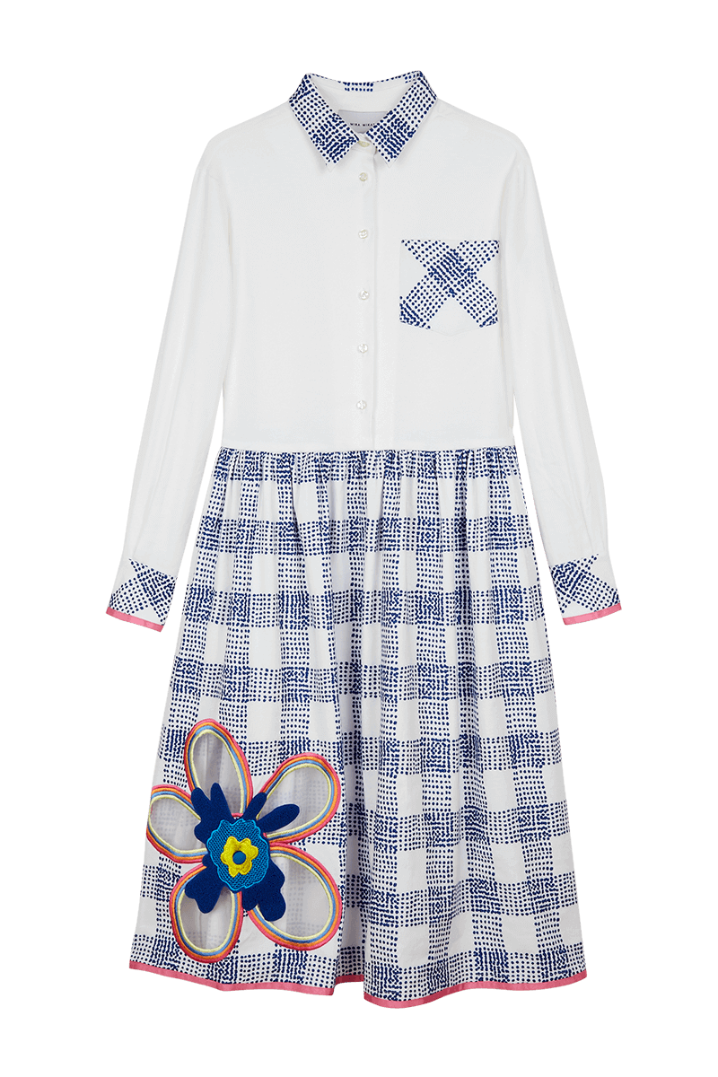 Flower Embroidered Check Shirt Dress