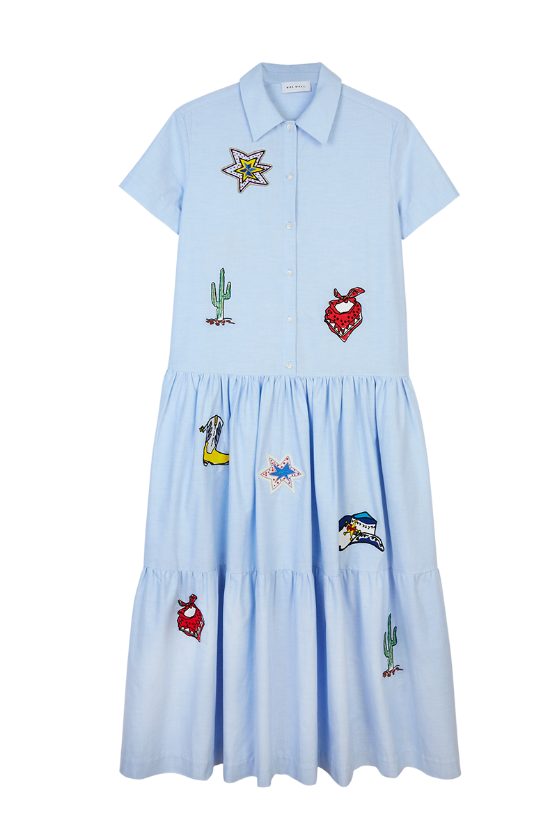 Patch Short Sleeve Shirt Dress