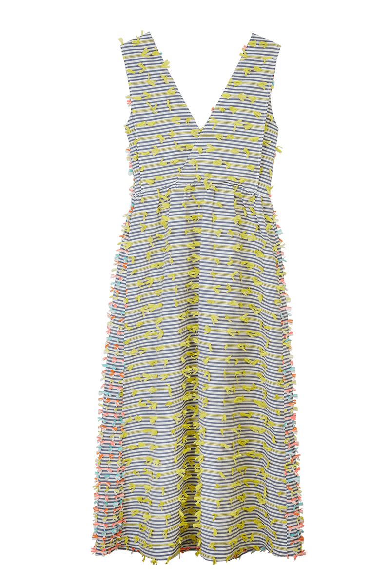 Striped Tape Appliqué Wrap Dress
