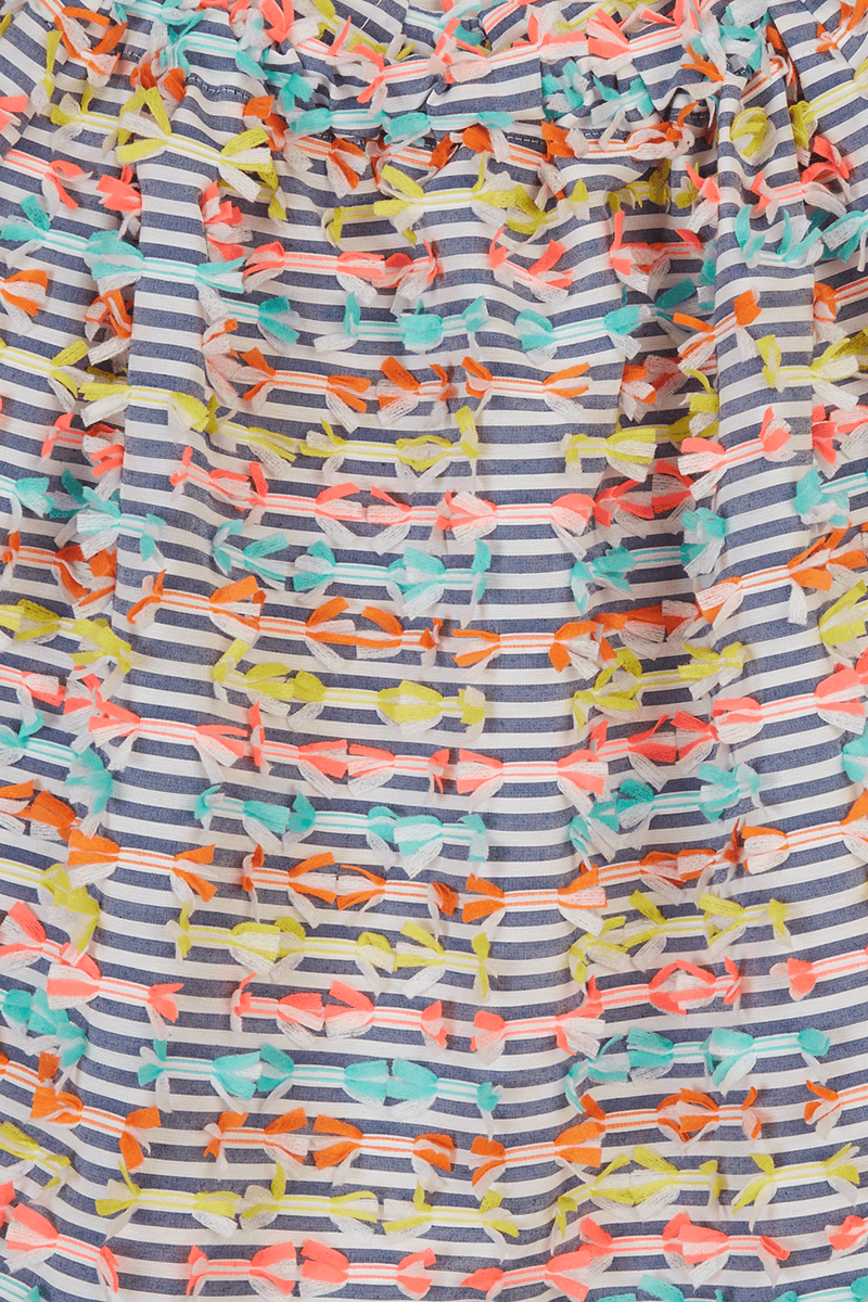 Striped Tape Appliqué Wrap Dress detail