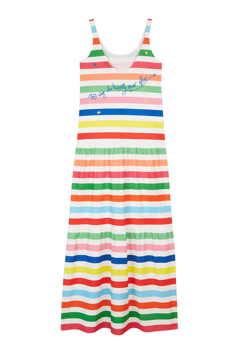 Rainbow Stripe Sleeveless Maxi Dress