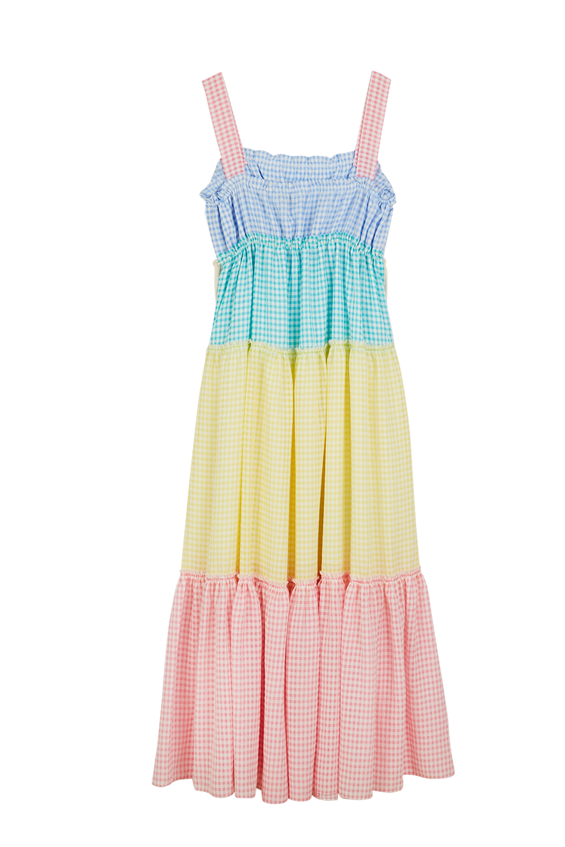 Gingham Flower Patch Maxi Dress