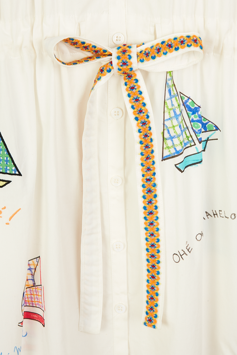 Sail Boat Drawstring Shirt Dress