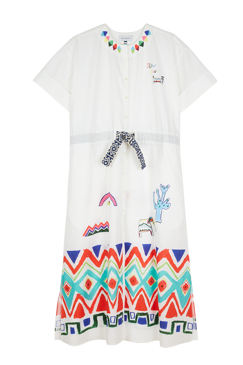 Geo Tribal Drawstring Dress