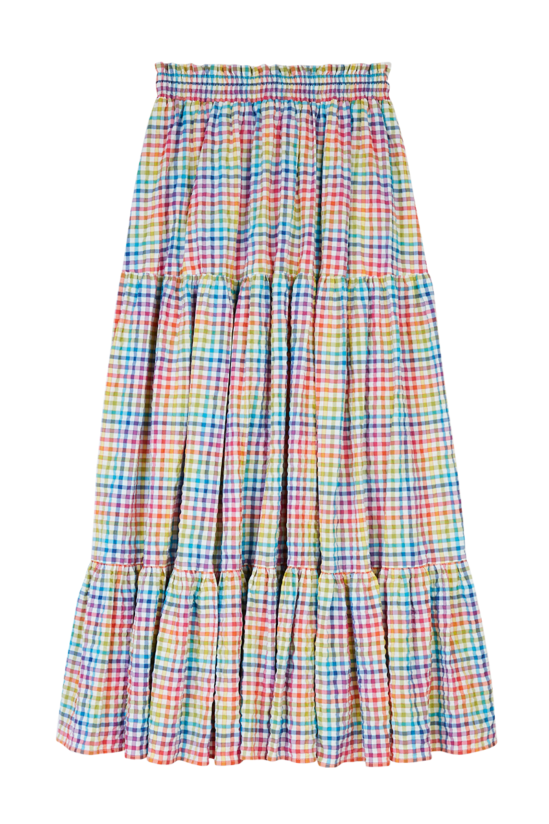 Rainbow Check Tiered Skirt