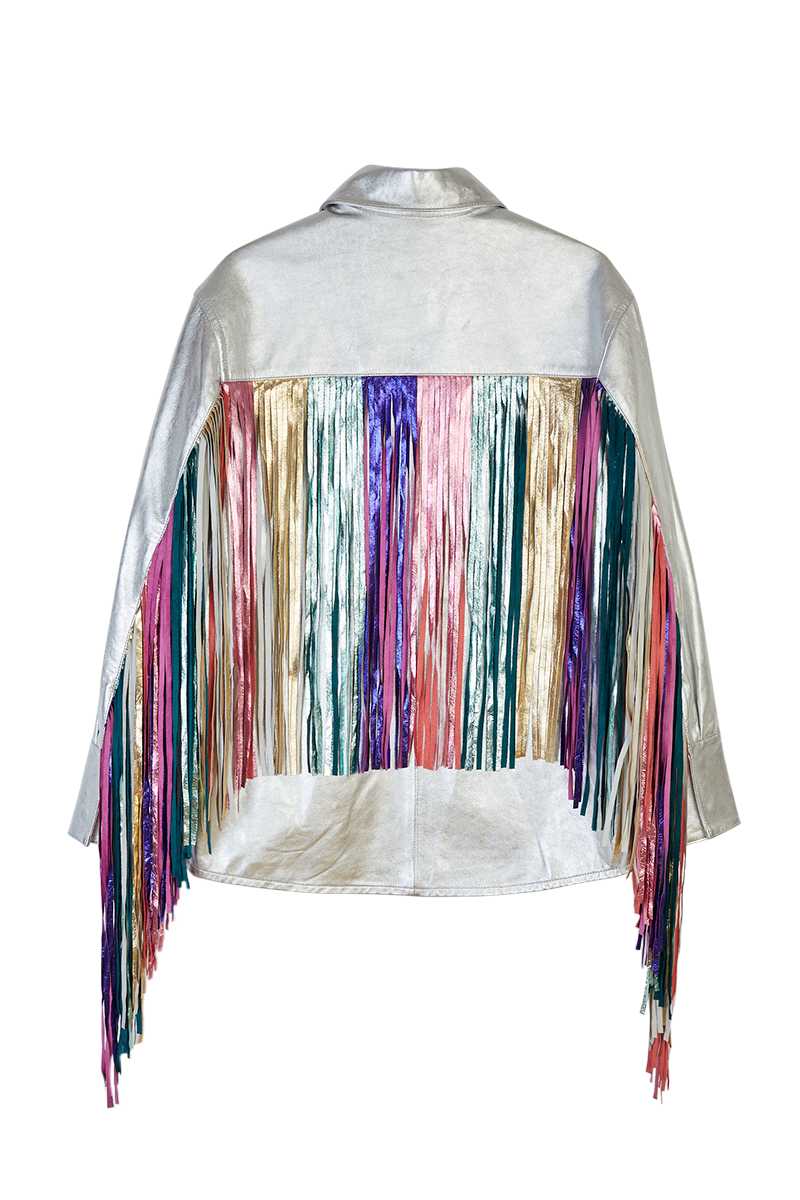 Metallic Leather Fringed Jacket