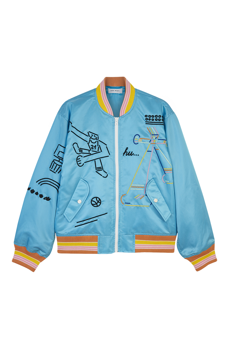 Basketball Embroidered Bomber Jacket