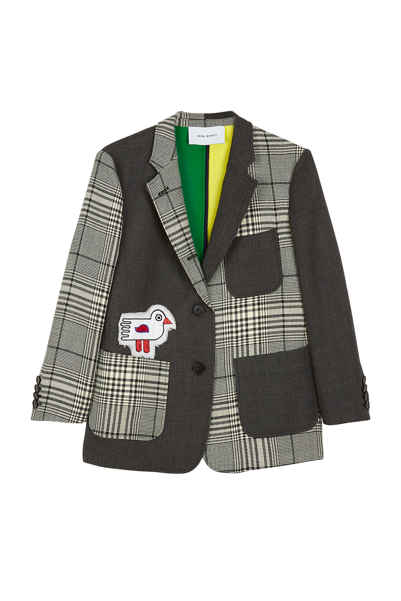 Check Tailored Jacket with Bird Appliqué