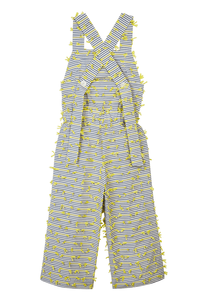 Striped Tape Appliqué Dungarees