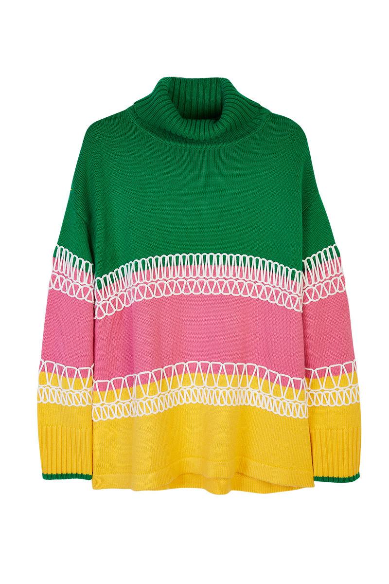 Colour Block Embroidered Turtleneck Sweater