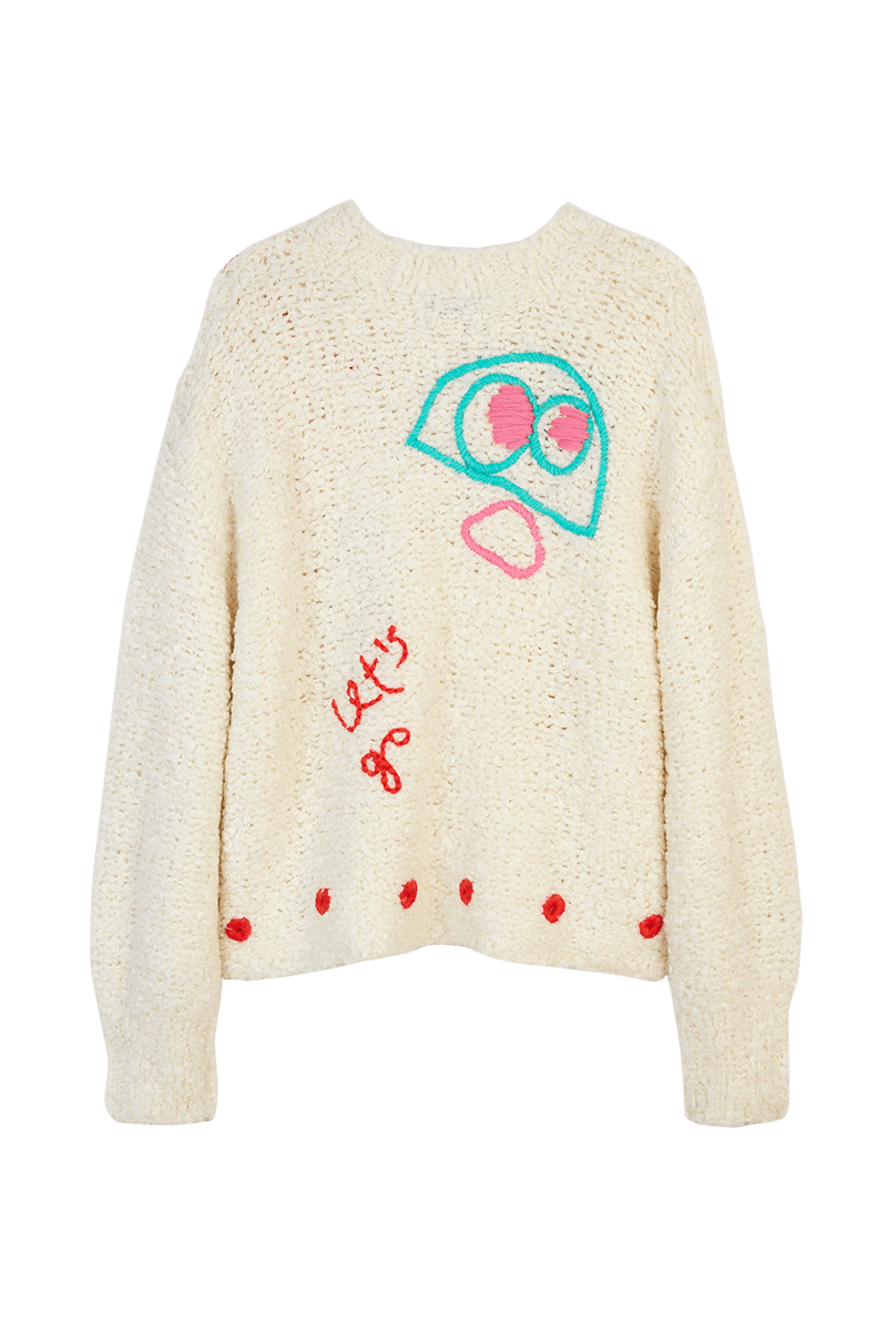 Abstract Monster Embroidered Sweater