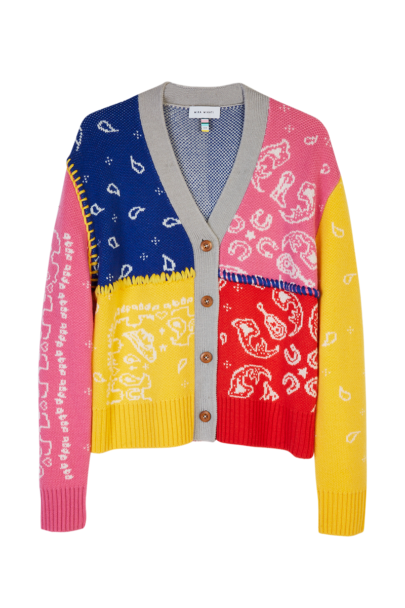 Colour Block Intarsia Bandana Cardigan