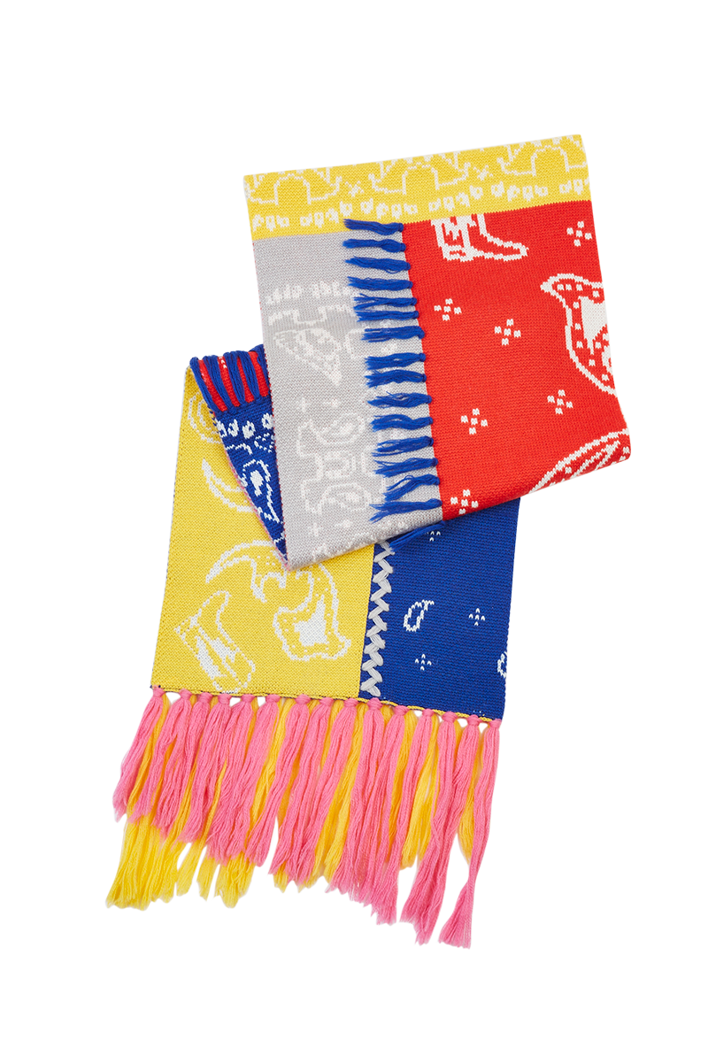 Colour Block Intarsia Bandana Scarf