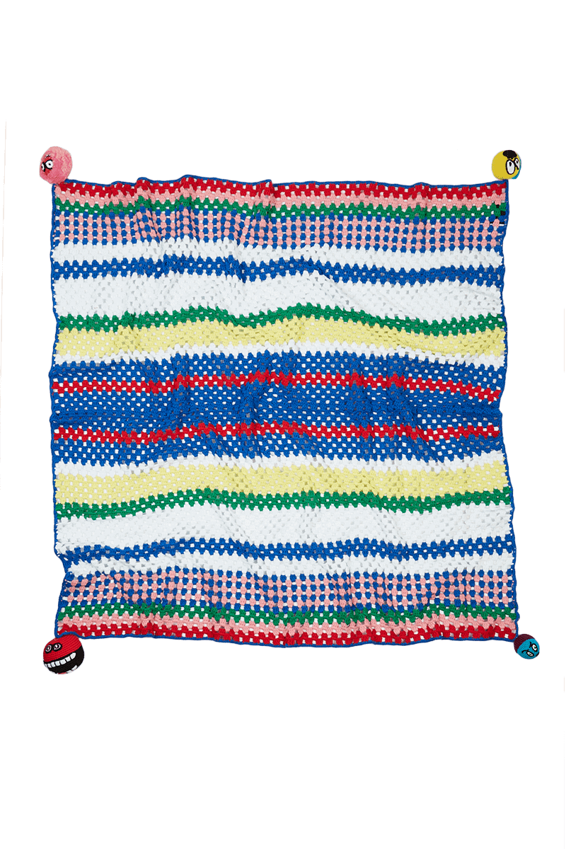 Crochet Rainbow Stripe Blanket detail