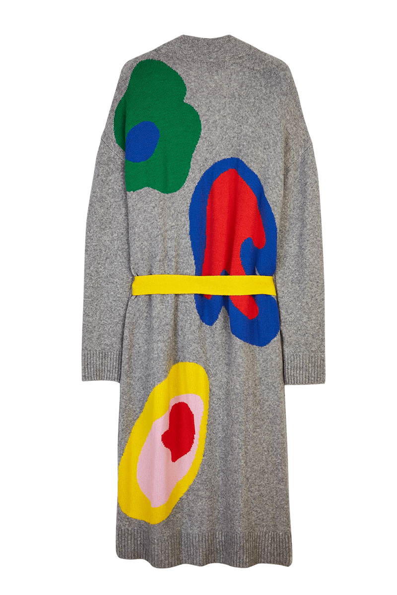 Abstract Intarsia Belted Long Cardigan