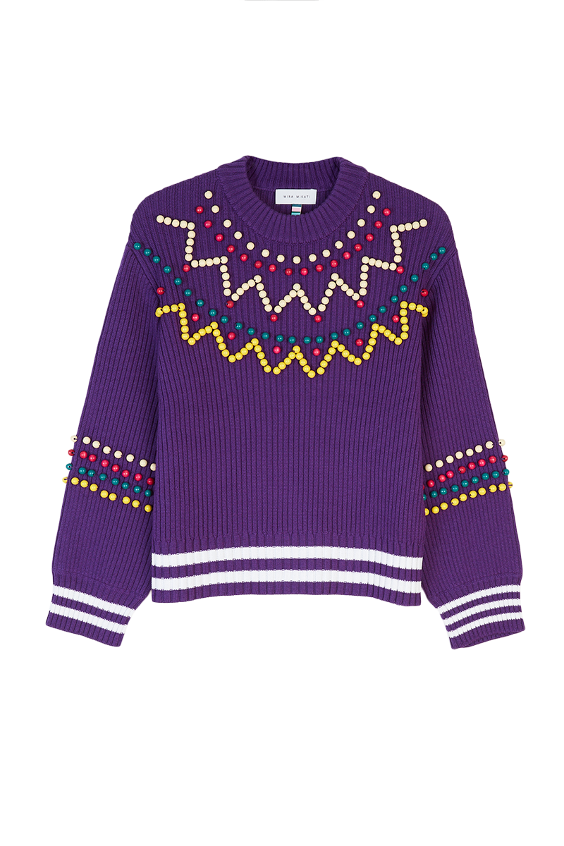 Beaded Purple Sweater