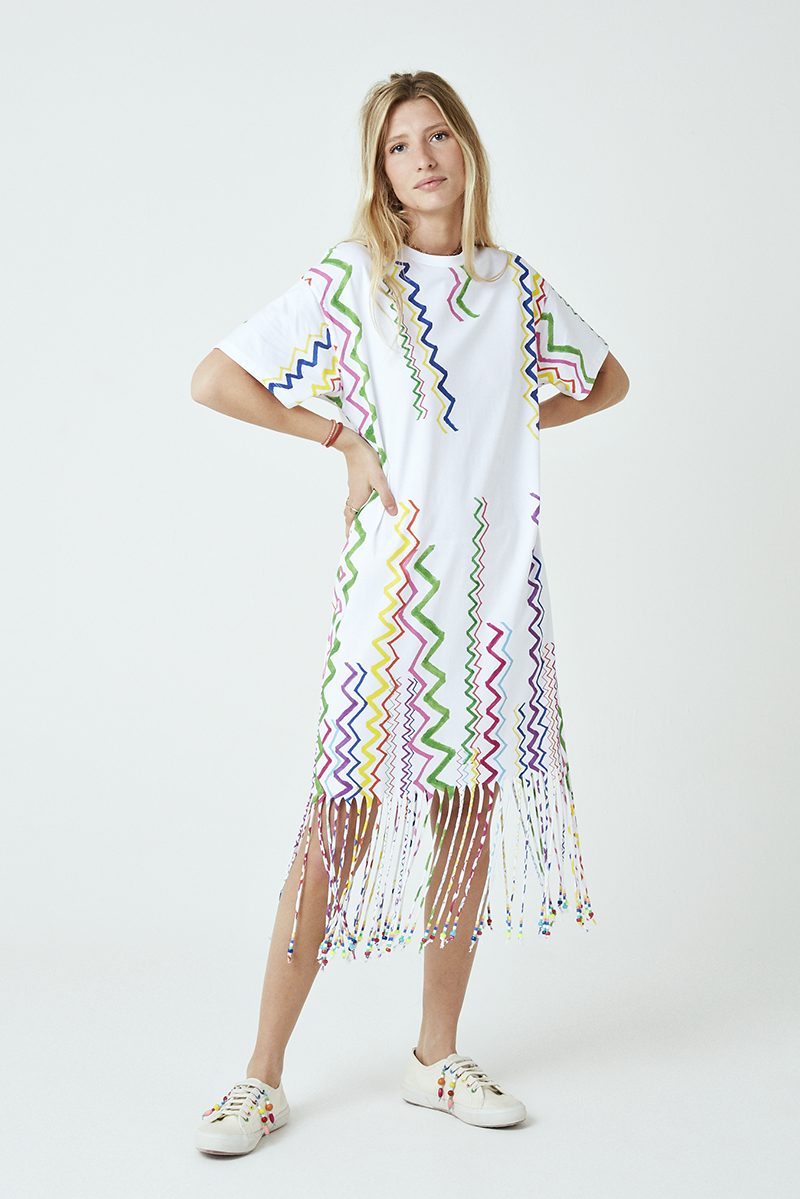 Zig-Zag Beaded Fringe T-Shirt Dress