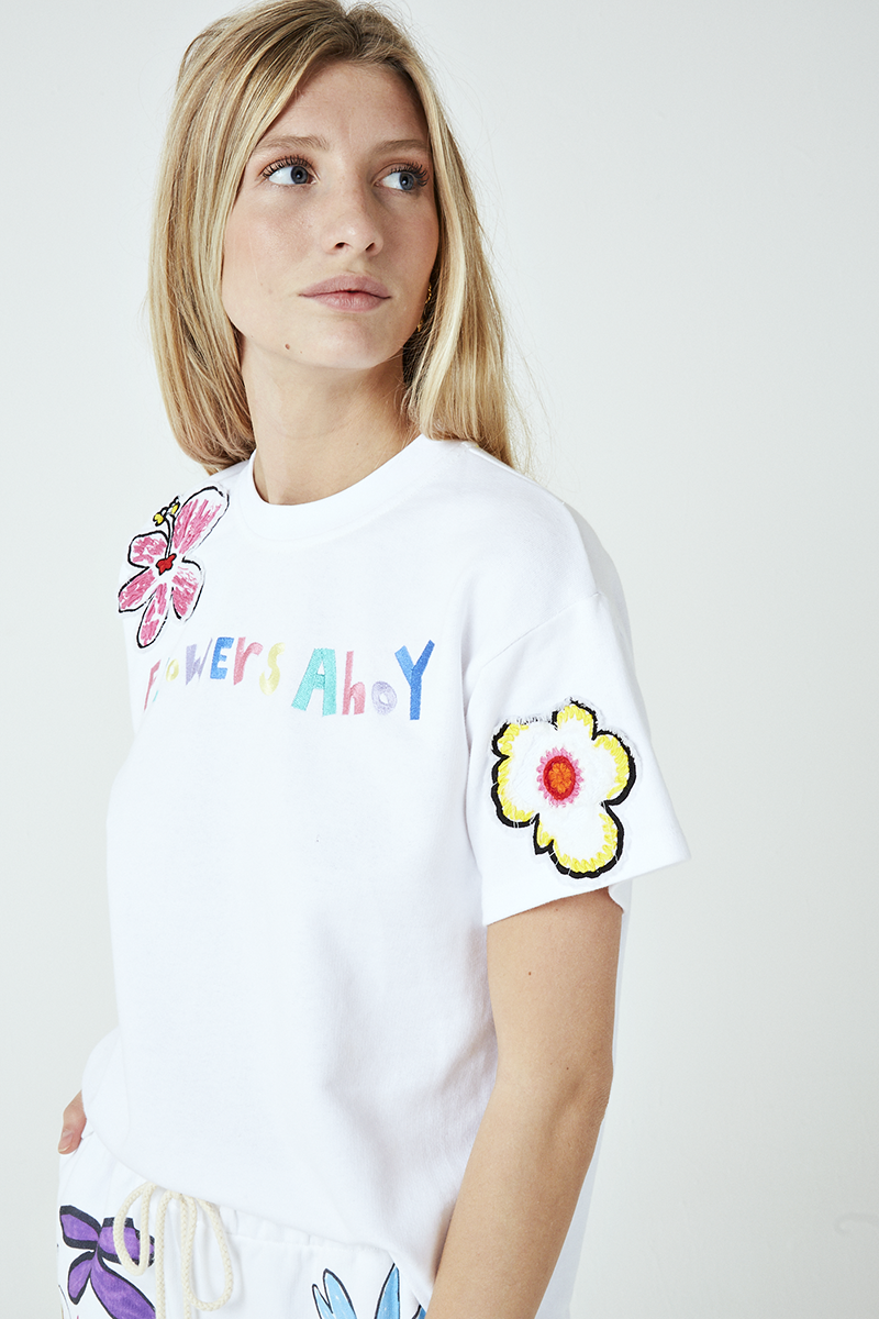 Flowers Ahoy Tie Back Sweatshirt