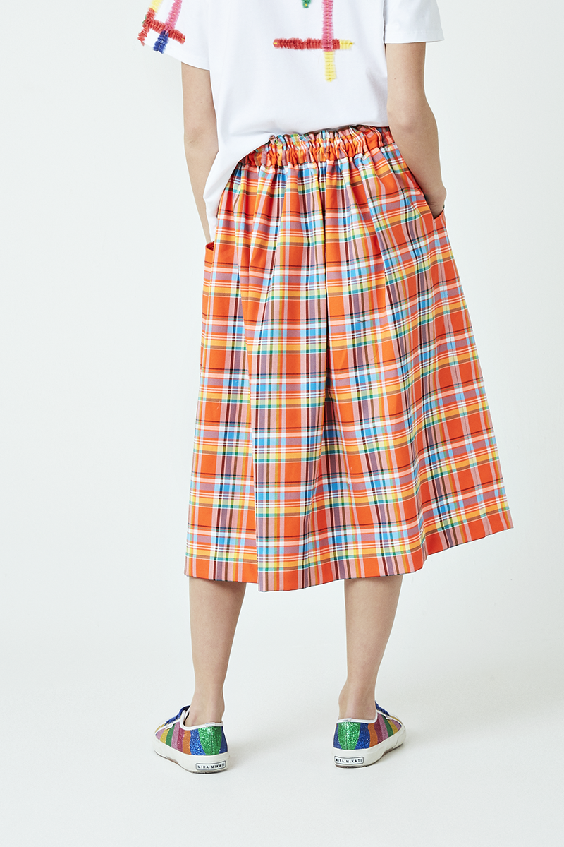 Check Elasticated Waist Skirt