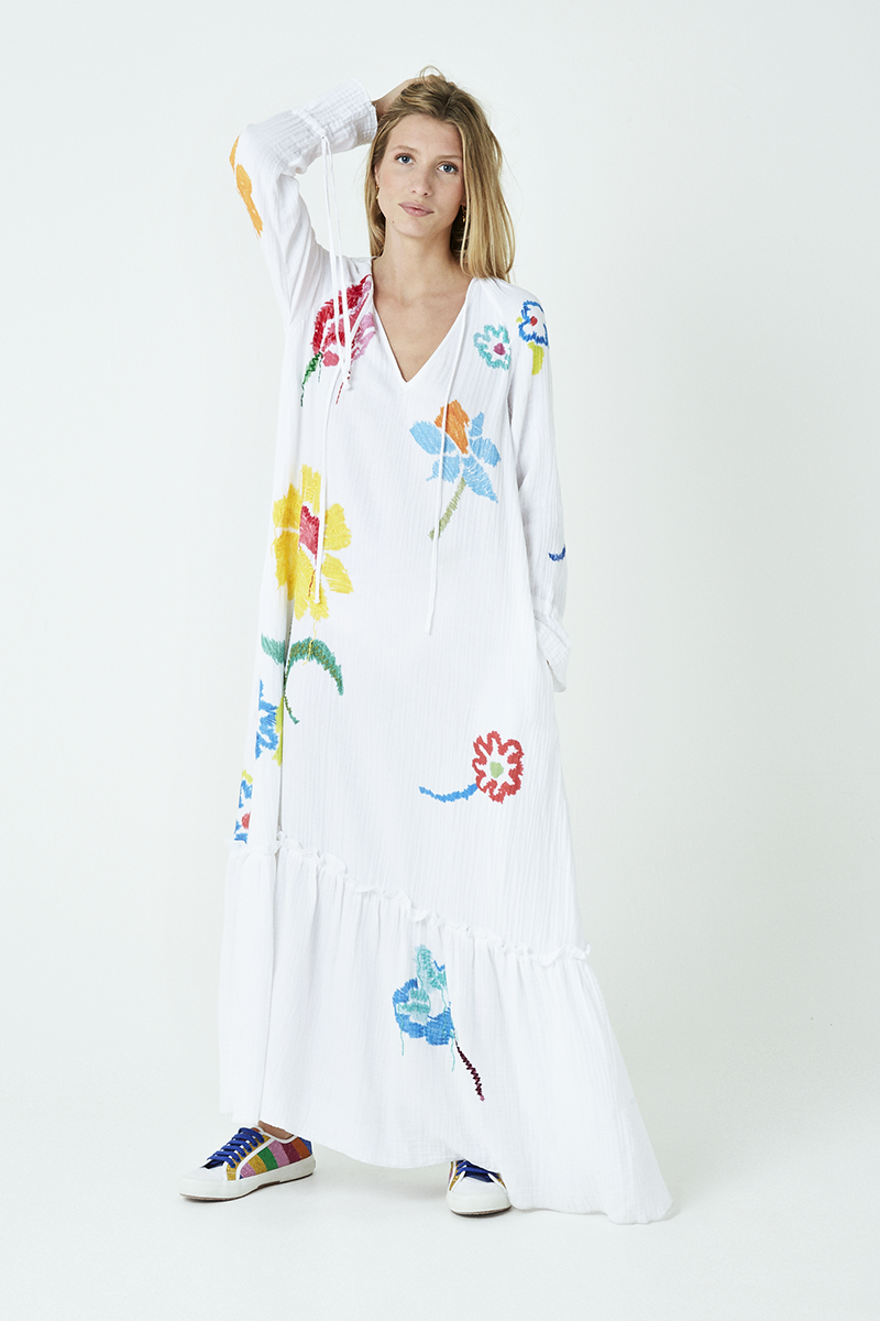 Floral Print Embroidered Maxi Dress
