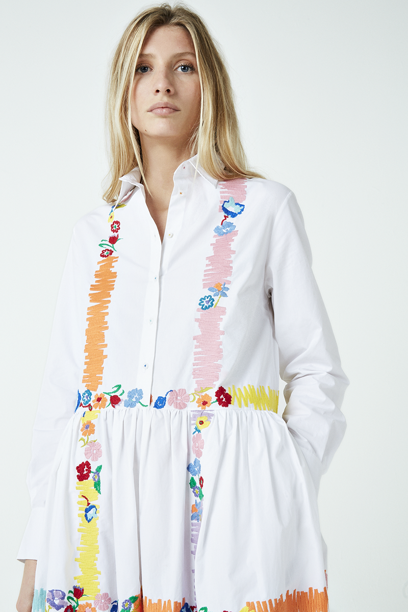Floral Check Embroidered Shirt Dress