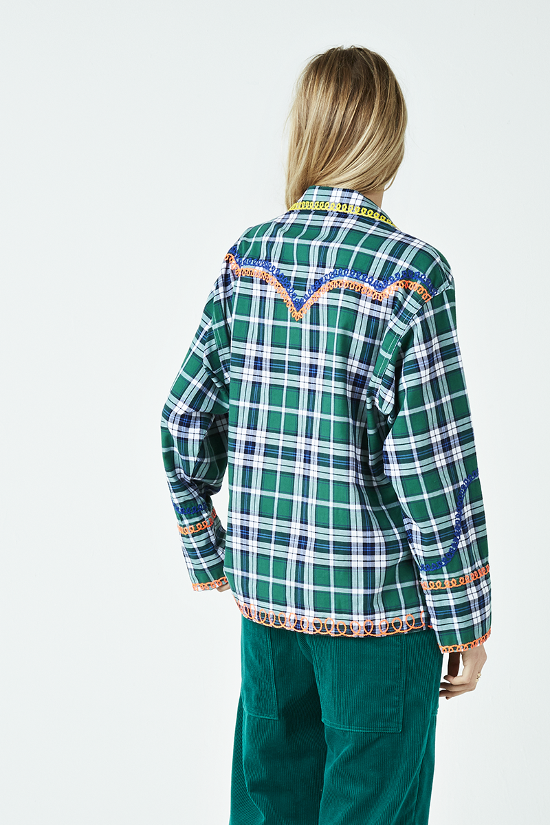 Plaid Western Embroidered Shirt