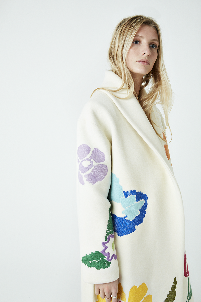 Floral Embroidered Shawl Coat