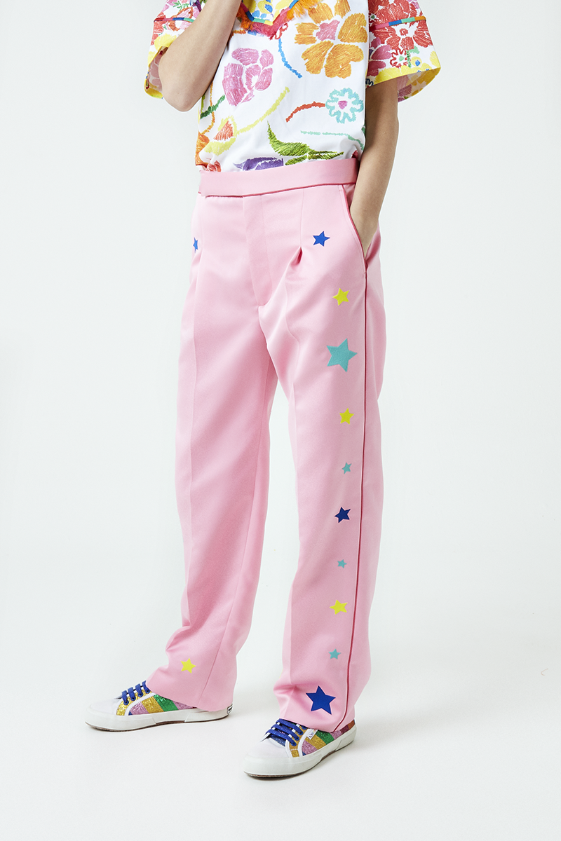 Star Embroidered Tailored Trousers
