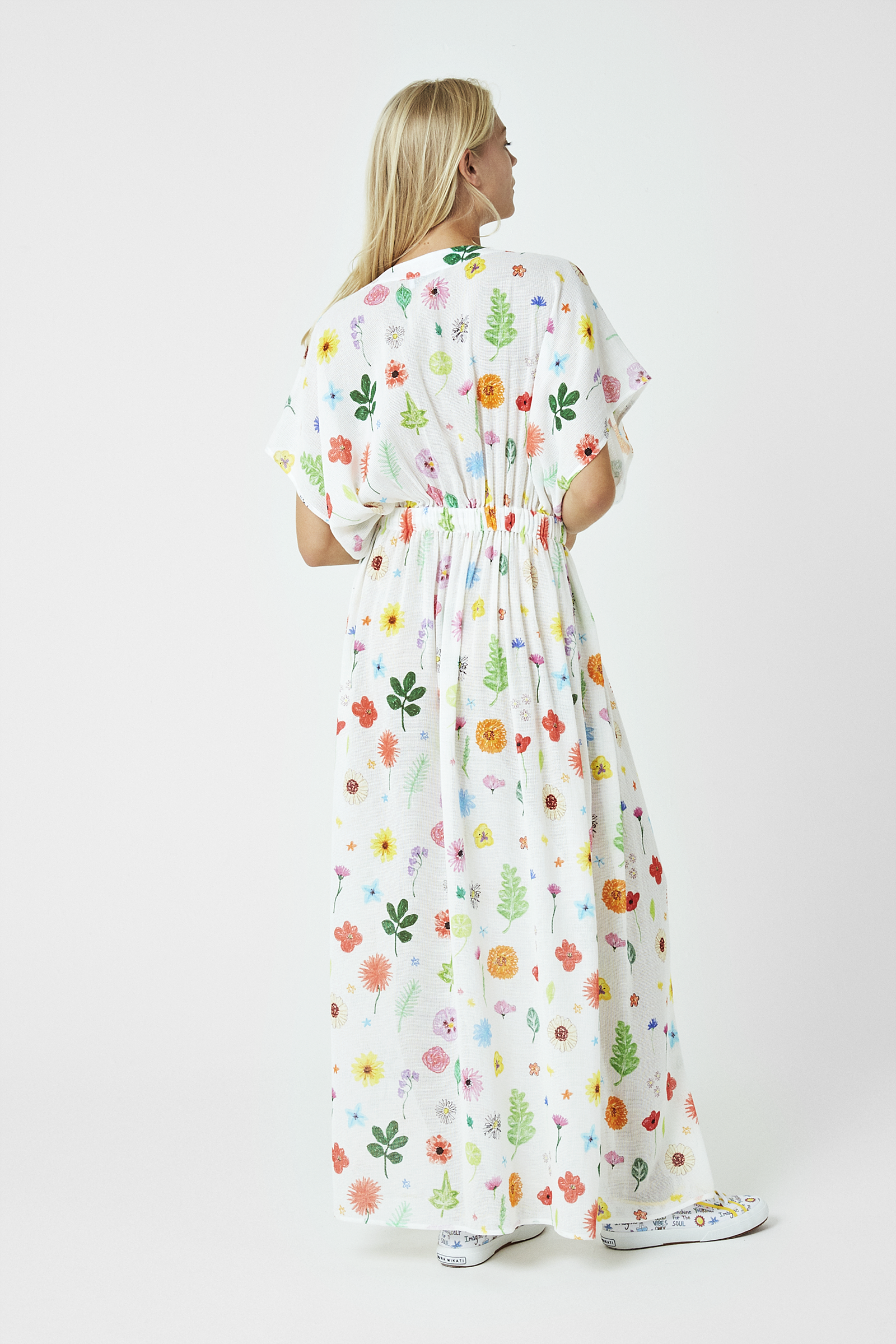 Embroidered Wellness Floral Print Kaftan