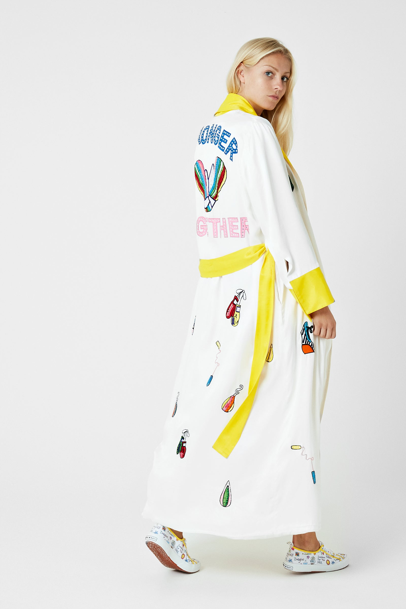 Embellished Maxi Boxing Robe
